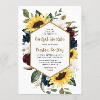 Sunflower Roses and Magnolia Rustic Themed Wedding Invitations