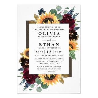 Sunflower Roses Burgundy Blue Engagement Party Invitations