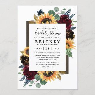 Sunflower Roses Burgundy Navy Blue Bridal Shower Invitations