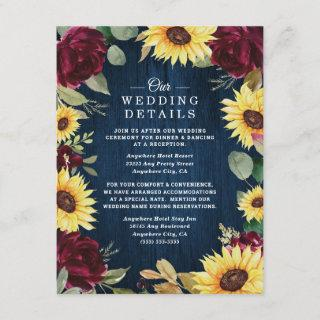 Sunflower Roses Burgundy Red and Navy Blue Wedding Enclosure Card