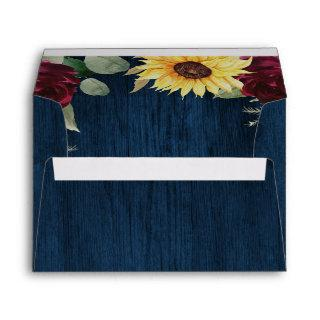 Sunflower Roses Burgundy Red and Navy Blue Wedding Envelope