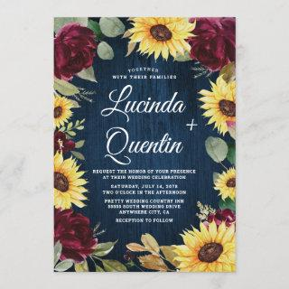 Sunflower Roses Burgundy Red and Navy Blue Wedding Invitations