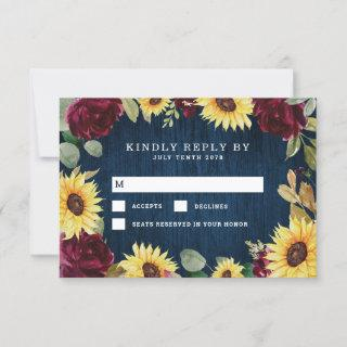Sunflower Roses Burgundy Red and Navy Blue Wedding RSVP Card