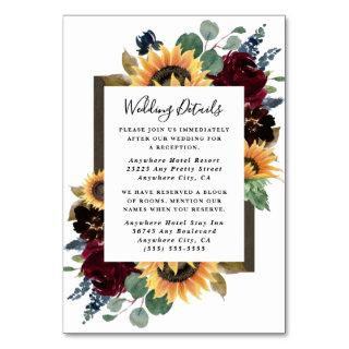 Sunflower Roses Burgundy Wedding Enclosure Cards