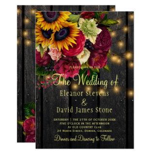 Sunflower roses rustic country barn wood wedding Invitations