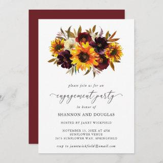 Sunflower Roses Rustic Fall Engagement Party Invitation