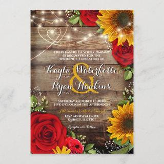 Sunflower & Roses Rustic Wood Lights Invitations