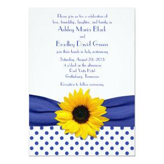 Sunflower Royal Blue White Polka Dot Wedding Invitations