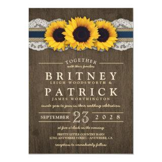 Sunflower Rustic Blue Burlap Wedding Invitations