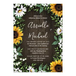 Sunflower Rustic Boho Rehearsal Dinner Invitations