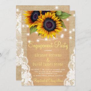 Sunflower rustic country burlap lace engagement invitation