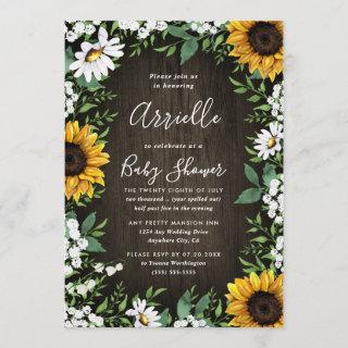 Sunflower Rustic Country Floral Fall Baby Shower Invitation