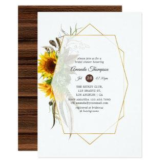 Sunflower Rustic Country Geometric Bridal Shower Invitation