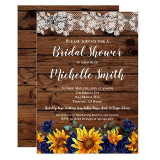 Sunflower Rustic Lace Country Blue Bridal Shower Invitation