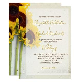 Sunflower Rustic Modern Typography Wedding Invitations