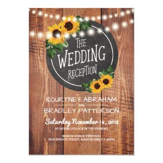 Sunflower Rustic String Lights Wedding Reception Invitation