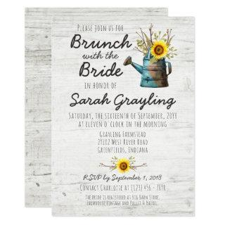 Sunflower & Rustic Wood Bridal Brunch Invitations
