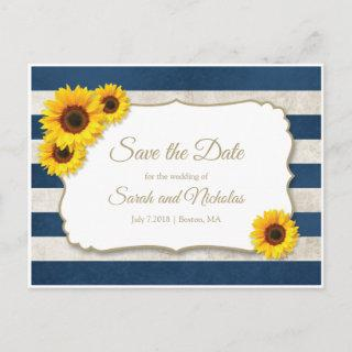 Sunflower Stripes Save the Date, Navy Blue Wedding Announcement Postcard