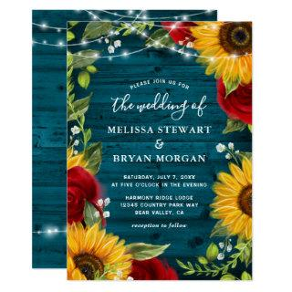 Sunflower Teal Burgundy Rose Rustic Wood Wedding Invitations