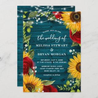 Sunflower Teal Burgundy Rose Rustic Wood Wedding Invitation