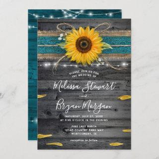 Sunflower Teal Burlap Lace Rustic Wood Wedding Invitations