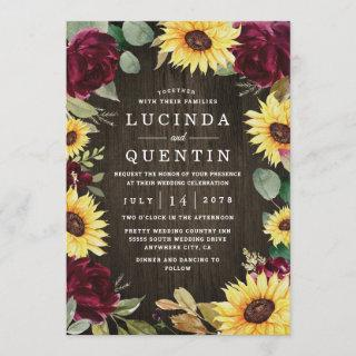 Sunflower Themed and Burgundy Red Rose Wedding Invitations