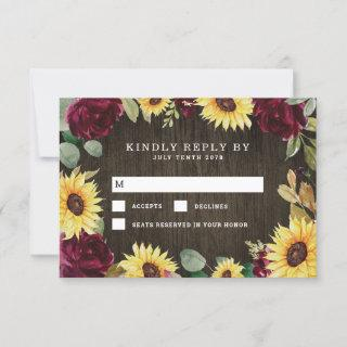 Sunflower Themed and Burgundy Red Rose Wedding RSVP Card