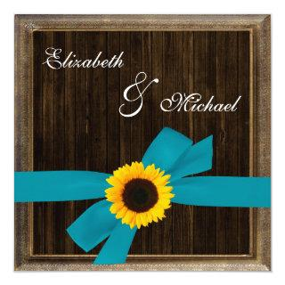 Sunflower Turquoise Ribbon Barn Wood Frame Wedding Invitations