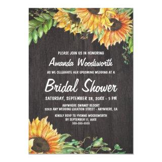 Sunflower Watercolor Bridal Shower Invitations