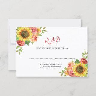Sunflower Watercolor Coral Floral Wedding RSVP Card