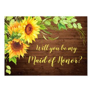 Sunflower Will You Be Maid of Honor? Invitations