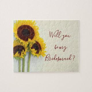 Sunflower Will You Be My Bridesmaid Jigsaw Puzzle