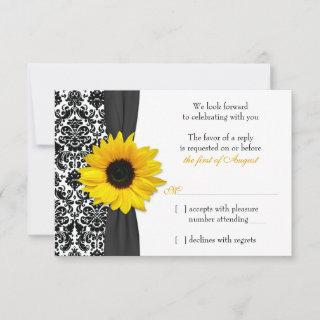 Sunflower Yellow Black Damask Wedding RSVP Reply