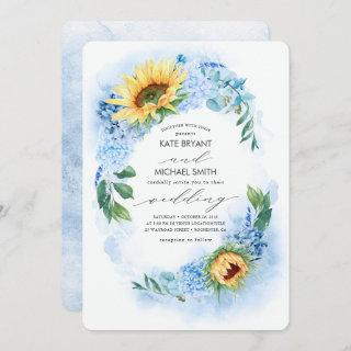 Sunflowers and Dusty Blue Hydrangea Floral Wedding Invitations