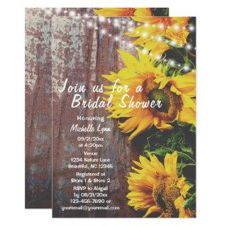 Sunflowers and Lights Rustic Country Bridal Shower Invitation