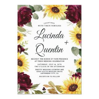 Sunflowers and Roses Burgundy Red Rustic Wedding Invitations