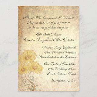 Sunflowers Antique Reproduction Wedding Invitations
