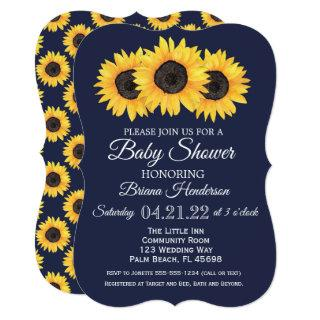 Sunflowers Baby Shower Invitations Country Blue