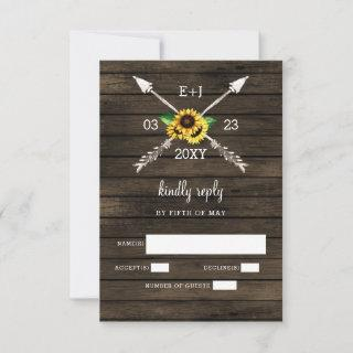 Sunflowers  Barn wood country chic wedding RSVP Card