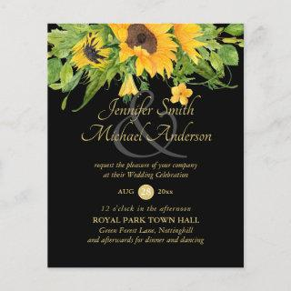Sunflowers Black Gold Floral Wedding Invite