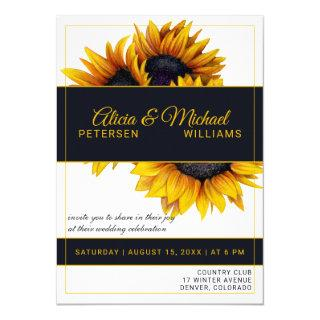 Sunflowers Bloom | Gold and Navy Modern Wedding Invitations