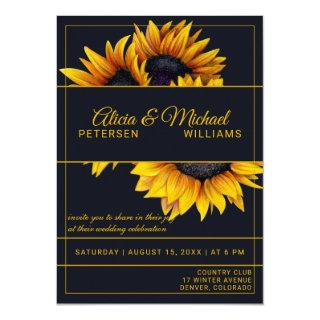 Sunflowers Bloom | Navy and Gold Modern Wedding Invitations