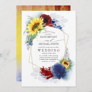 Sunflowers Burgundy Red and Navy Blue Fall Wedding Invitation