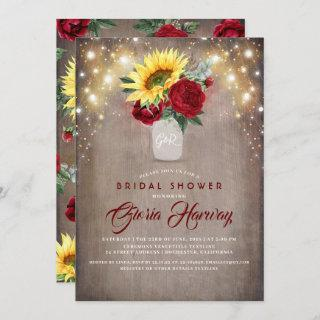 Sunflowers Burgundy Red Rustic Fall Bridal Shower