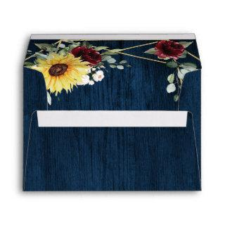 Sunflowers Burgundy Roses Navy Geometric Wedding Envelope
