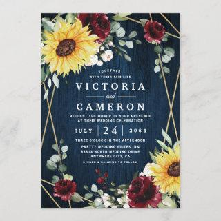 Sunflowers Burgundy Roses Navy Geometric Wedding Invitations