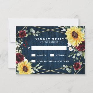 Sunflowers Burgundy Roses Navy Geometric Wedding RSVP Card