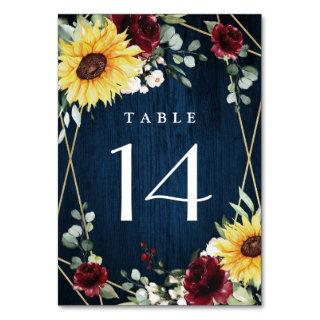 Sunflowers Burgundy Roses Navy Geometric Wedding Table Number