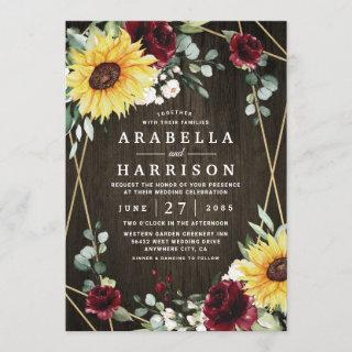 Sunflowers Burgundy Roses Rustic Geometric Wedding Invitations