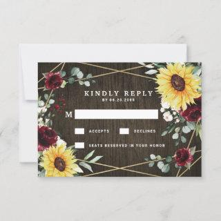 Sunflowers Burgundy Roses Rustic Geometric Wedding RSVP Card